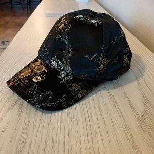 Satin Floral Embroidered Baseball Hat